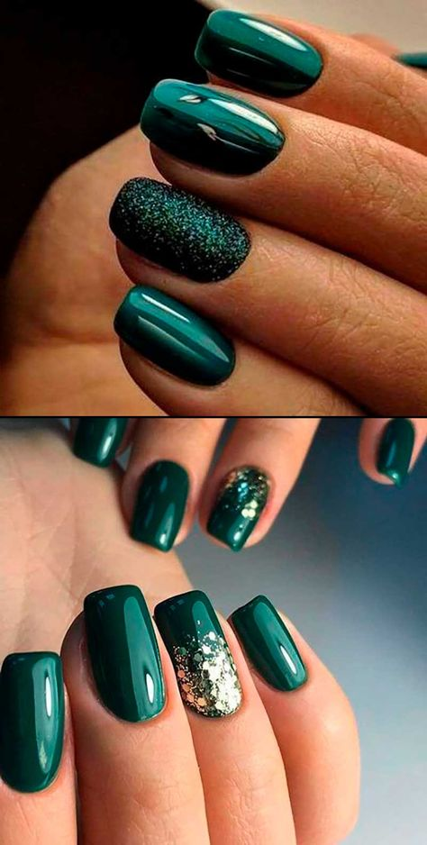 Gorgeous dark green winter nails ideas for inspiration! Christmas Gel Nails, Holiday Nails, Dark Christmas, Holiday Acrylic Nails, Christmas Popcorn, Xmas Nail Art, Christmas Makeup, Christmas Cookies, Dark Green Nails