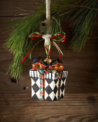 Harlequin Present Christmas Ornament by MacKenzie-Childs at Neiman Marcus.
