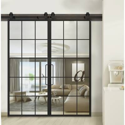 Verona Home Design Manufactured Wood Primed Interior Glass Barn Door With Hardware Reviews Glass Barn Doors Glass Barn Doors Interior Sliding Doors Interior