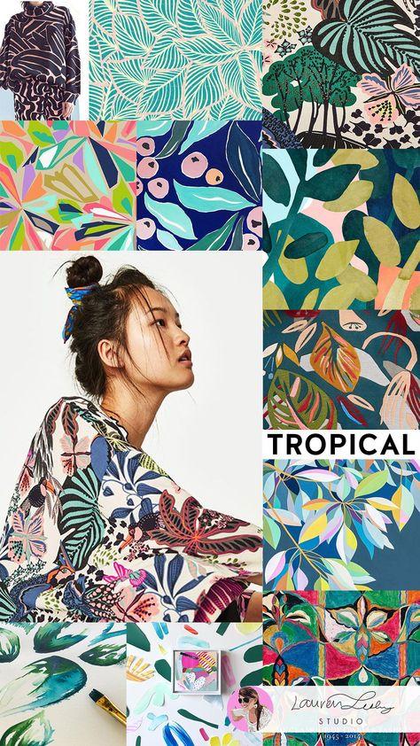 Tropical Trend Report SS19 | Modern Tropical Illustration Design | Tropical Print | Tropical Decor | Tropical Fashion | Tropical Wallpaper | Tropical Outfit | Tropical Aesthetic | Tropical Art | Pattern Design | Surface Design #laurenlesleystudio