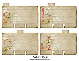 Free Printable Address Book Roladex Style Put Together With C Rings Address Card Cards Birthday Clips
