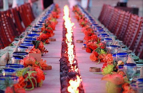 Event table lined with a firepit
