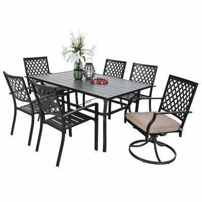 Fleur De Lis Living Thibeault 7 Piece Dining Set With Cushions In 2020 7 Piece Dining Set Furniture Dining Set