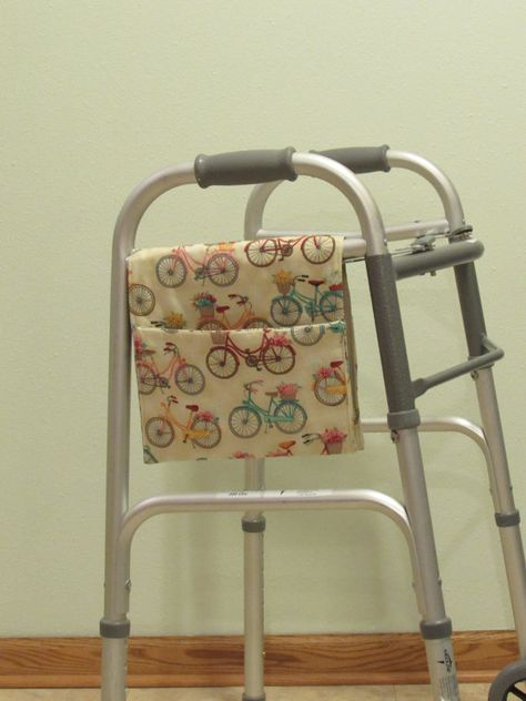 Walker tote  Retro looking bicycles  407 by kattts on Etsy (Accessories, walker, walker totes, walker bags, totes, carry all, nursing home, handmade, caddy, hospital bed, organizer, stroller, accessory bag, special needs)