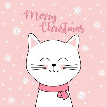 크리스마스 벡터에 대 한 귀여운 고양이 배경 크리스마스 고양이 귀여운 Png 및 벡터 에 대한 무료 다운로드 메리 크리스마스 캘리그라피 크리스마스 배경