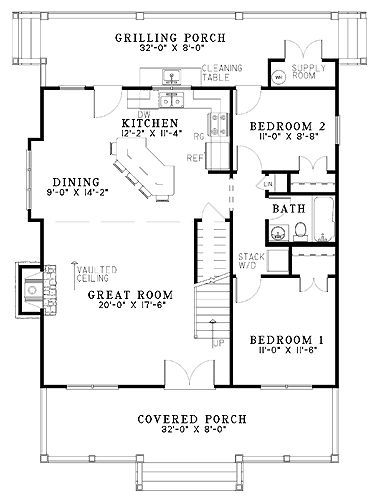 Colonial Style House Plan 3 Beds 2 Baths 1544 Sq Ft Plan 17 2882 Cabin Floor Plans Cottage Plan Small House Plans