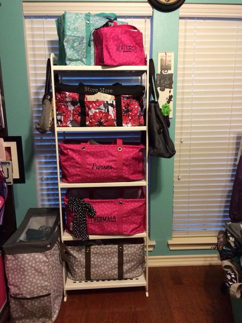 Home organization using Thirty One large utility totes, deluxe utility tote and room for two utility tote. Ikea shelving unit. www.mythirtyone.com/carynmanhart