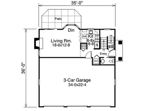 Small mostly house plans on pinterest small house for 3 car garage with upstairs apartment
