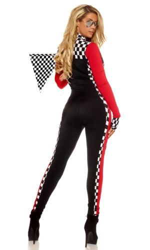 Ladies Race Car Driver Adult Halloween Queen Costume Cheerleader Jumpsuit