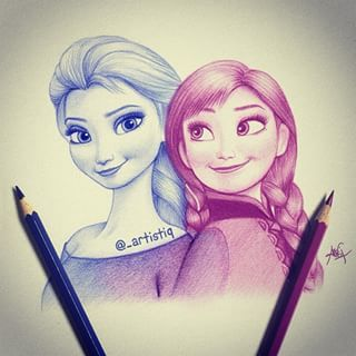 Elsa And Anna From Frozen Only Two Colors Were Used For This Drawing Frozen Zeichnungen Disney Zeichnungen Bilder Selber Malen