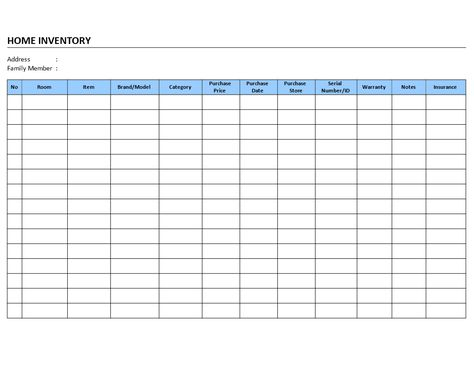 Home inventory log - Home inventory log templates - Birth