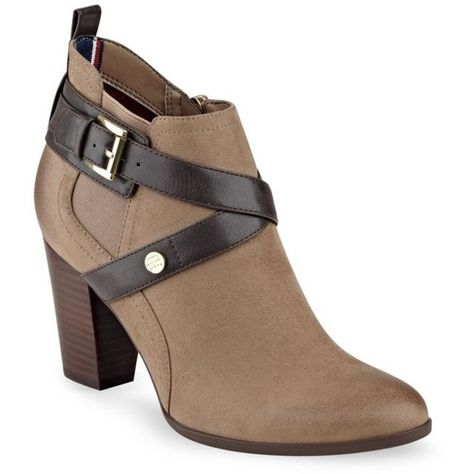 664d5f2f3 Tommy Hilfiger Light Brown Silvia Belted Bootie - Women s ( 50) ❤ liked on  Polyvore featuring shoes