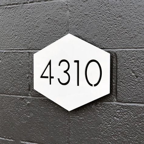 The Hex House Numbers Steel Modern Metal Address Plaque Plate