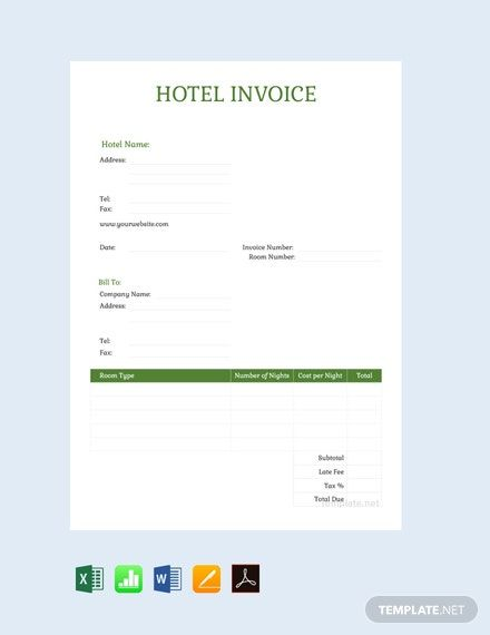 Sample Hotel Invoice Template Free Pdf Word Excel Apple Pages Google Docs Google Sheets Apple Numbers Invoice Template Invoice Design Template Templates