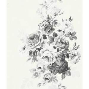 Magnolia Home By Joanna Gaines Tea Rose Paper Strippable Wallpaper Covers 56 Sq Ft Me1534 The Home Depot Black Floral Wallpaper Rose Wallpaper Floral Wallpaper