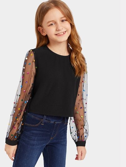 To find out about the Girls Colorful Dot Mesh Sleeve Top at SHEIN, part of our latest Girls Blouses ready to shop online today!