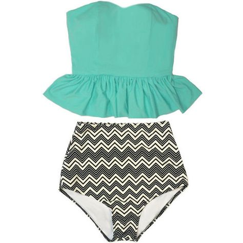 fdd925063a Mint Long Peplum Tankini Tankinis Top and Chevron High Waist Waisted...  (2.820 RUB) ❤ liked on Polyvore featuring swimwear, bikinis, silver, ...