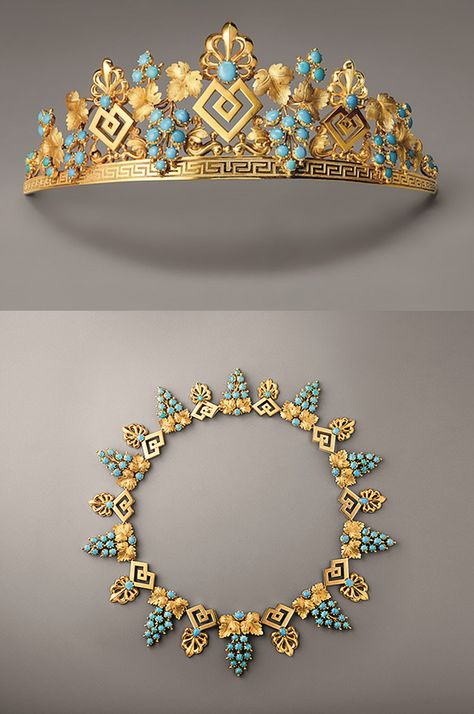 This gold and turquoise tiara and necklace, ca.1825, illustrates the stylistic transition of the 1820s, incorporating the palmettes and meanders that had remained in vogue after the French Empire, meshed with vine branches that announced the naturalism of the Romantic style. http://www.adorn-london.com/jewelry-inspiration/a-walk-through-chaumets-historical-jewels/ http://preziosamagazine.com/chaumet-un-ponte-tra-passato-presente-e-futuro/