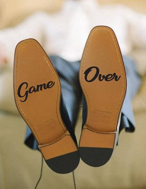 Game Over decal, Wedding shoes sticker, Wedding vinyl, Game Over sticker, Game Over vinyl, Groom shoes decal, Groom vinyl, Bride sticker