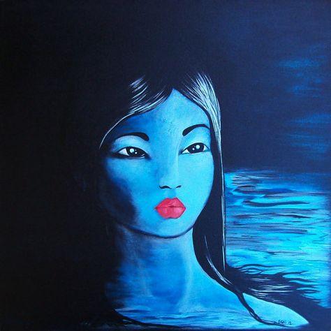 Luna - portrait of a blue girl. $325.00, via Etsy.
