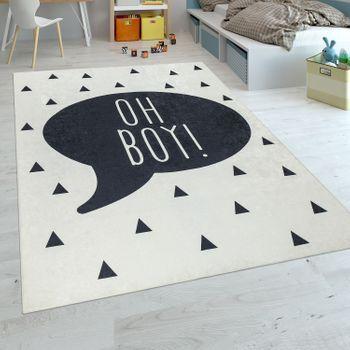Der auf dem waschbaren Kinderteppich beschreibt, was sich ...