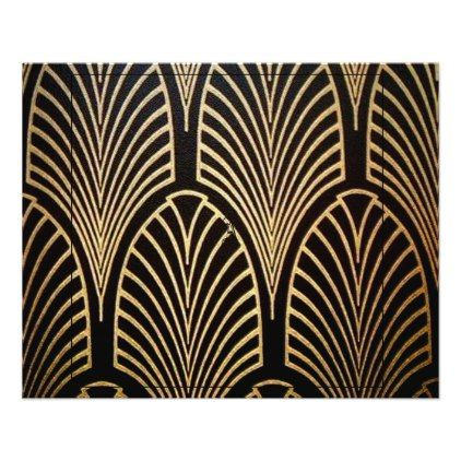 Art nouveau art deco fan pattern bronzegoldbl flyer - chic design idea diy elegant beautiful stylish modern exclusive trendy
