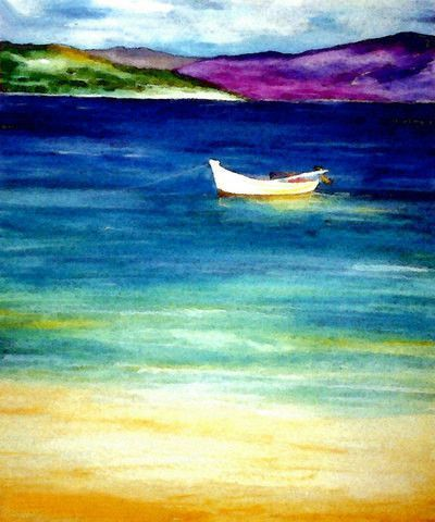 Watercolor Painting Jamaica Caribbean Ocean Seascape Art Print