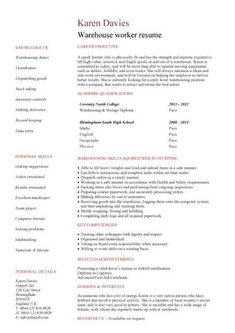 Warehouse Jobs Resume Mardiyono Semair85 On Pinterest
