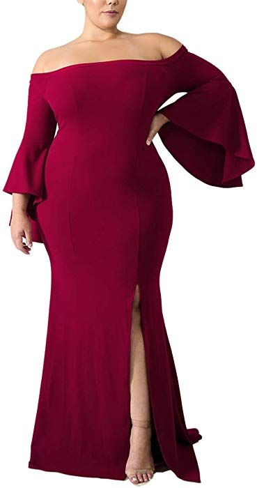 Ecosunny Women Plus Size Evening Long Party Dress Off ...