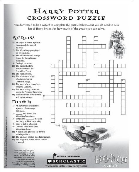 Harry Potter Crossword Puzzle Library Pinterest Harry Potter - Us map crosswords scholastic professional books answers