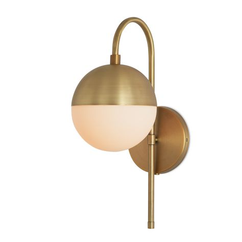 Powell Led Wall Sconce With Hooded White Globe Aged Brass Oil