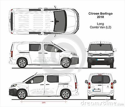 Citroen Berlingo Combi Delivery Long Van L2 Swing Rear Doors Black Front Bamper 2018 Present Detailed Template For Design And Car Wrap Citroen Berlingo Opel
