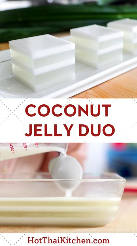Coconut Jelly Duo วุ้นกะทิ Beautiful summer dessert recipe with layers of coconut water jelly alternating with coconut milk. It's a classic no-bake Thai dessert that is vegan, gluten free and delicious! Gelatin Recipes, Jello Recipes, Rice Cake Recipes, Jelly Desserts, Asian Desserts, Coconut Jello, Thai Coconut Pudding Recipe, Coconut Milk Desserts, Recipes With Coconut Milk
