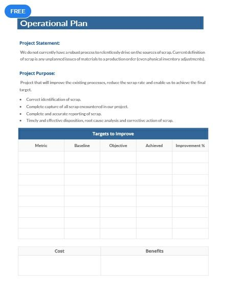 Free Operational Plan Example Change Management Templates
