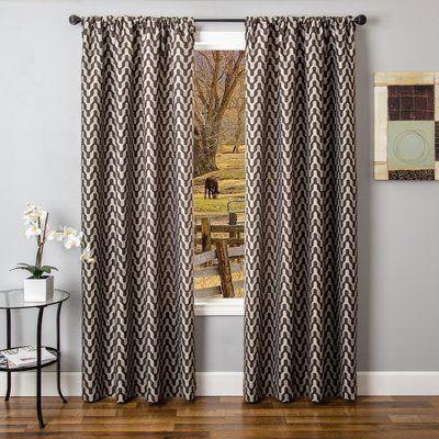 Ebern Designs Arellano Chevron Room Darkening Rod Pocket Single Curtain Panel Rod Pocket Curtains Curtains Panel Curtains