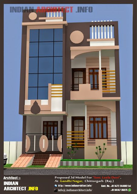 Smt Leela Devi House 20 X 50 1000 Sqft Floor Plan And 3d Elavation Indian Architect Small House Elevation Duplex House Design 20x40 House Plans