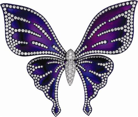 A Diamond and Titanium Butterfly Brooch