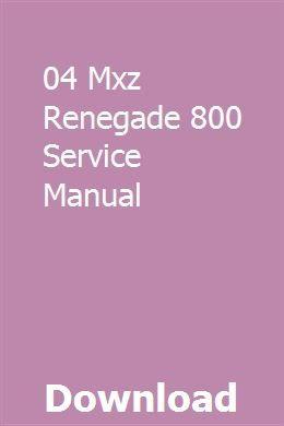 04 Mxz Renegade 800 Service Manual Renegade Manual Ramp Design