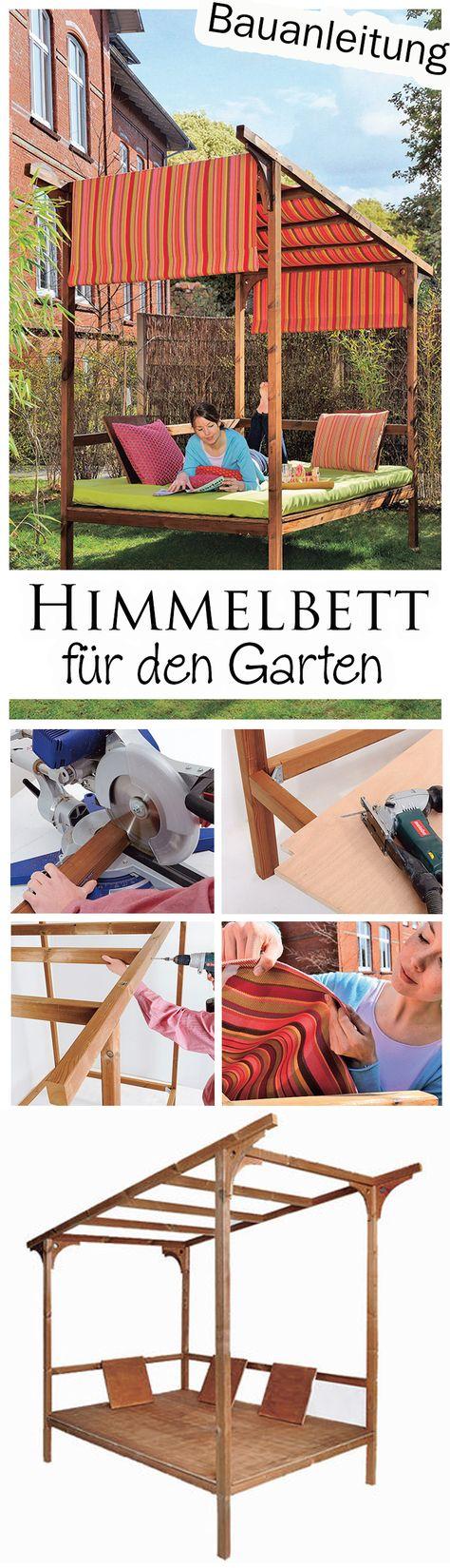 Daybed outdoor selber bauen  Himmelbett für den Garten | Gartenliege, Himmelbett und Markise