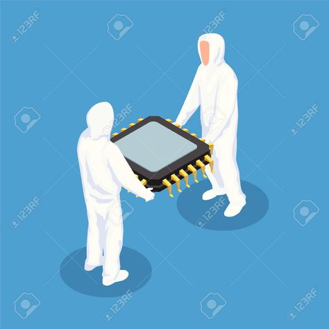 Semiconductor isometric design concept with two men in white protective clothing holding big processor unit vector illustration , #ad, #men, #white, #protective, #concept, #Semiconductor