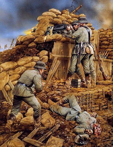 ametralladora alemana en la sierra de Vimy, 1917