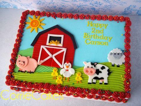 a cute farm cake from CorrieCakes-just love her work! a cute farm cake from CorrieCakes-just love he Farm Birthday Cakes, Animal Birthday Cakes, Farm Animal Birthday, 3rd Birthday Parties, Birthday Ideas, Farmer Birthday Party, 2nd Birthday Cake Boy, Petting Zoo Birthday Party, Barnyard Cake
