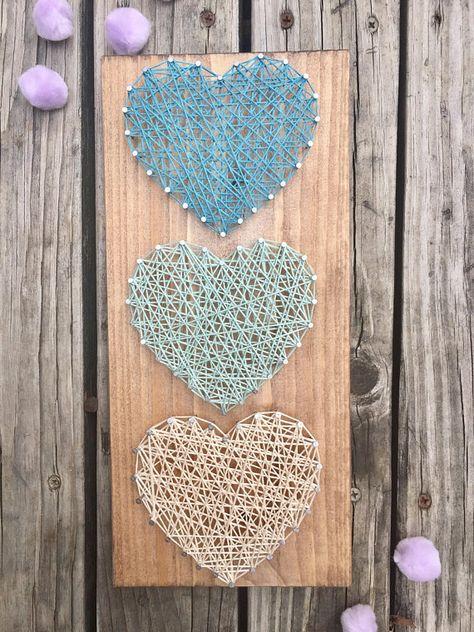 Heart String Art, String Art Heart, Wood Gift For Wife, Unique Wood Heart, Wood Gift For Mom, 5th An