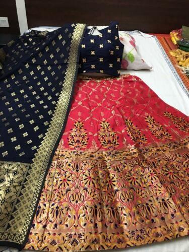 Traditional weaving design lehenga and ready padded blouse and banarasi duptta