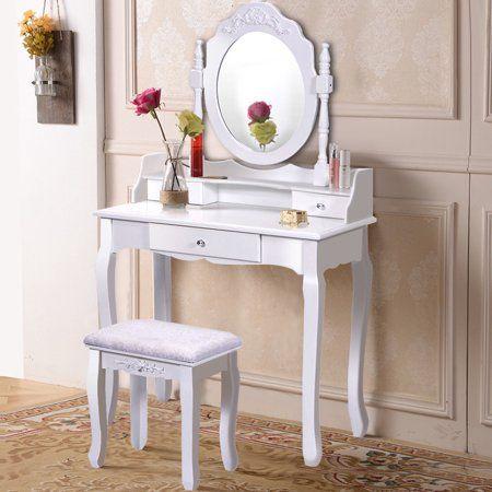 Costway White Vanity Wood Makeup Dressing Table Stool 3 Drawer Walmart Com Vanity Table Set Wooden Vanity Vanity Set