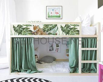 Autocollants Repositionnables Ikea Kura Lit Guepards Tropicale Stickers Chamb Bed House Ikea Kids Furniture Kids Bedroom Furniture Ikea Kids Bed
