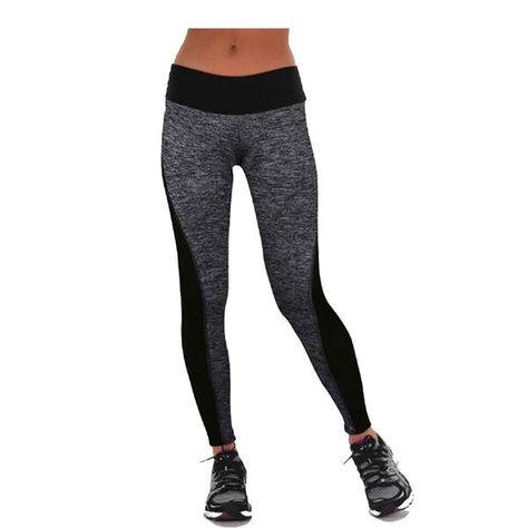 Black/Gray Women's Fitness Leggings Workout Pants High Waist Leggings