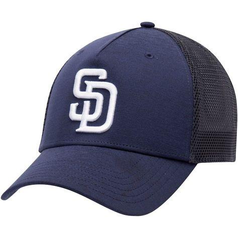 2d9e97c2efcc1 Men s San Diego Padres Under Armour Navy Twist Closer Trucker Performance  Adjustable Hat
