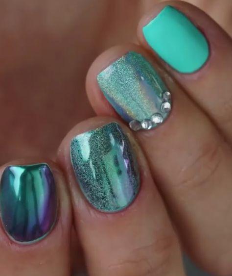 Mitty Super Chrome Nail Art Powder Emerald Nails Pinterest