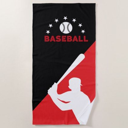 Cool Black And Red Baseball Beach Towel With Images Baseball